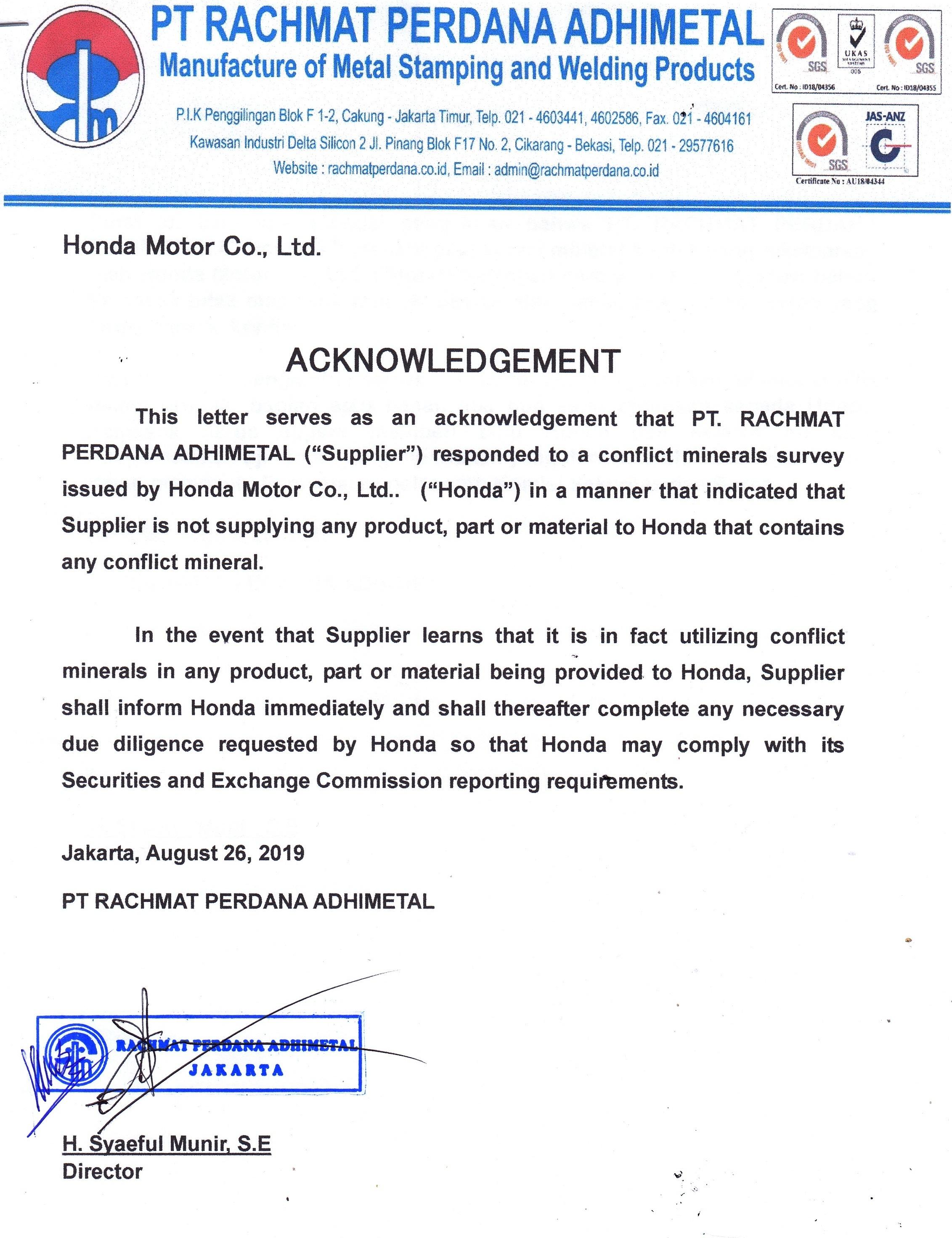 Acknowledgement Honda Motor